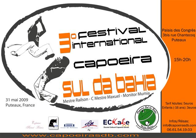 Affiche du 3e festival international Capoeira Sul da Bahia - France