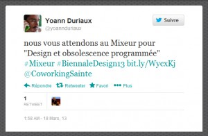 capture d'écran - tweet de Yoann Duriaux